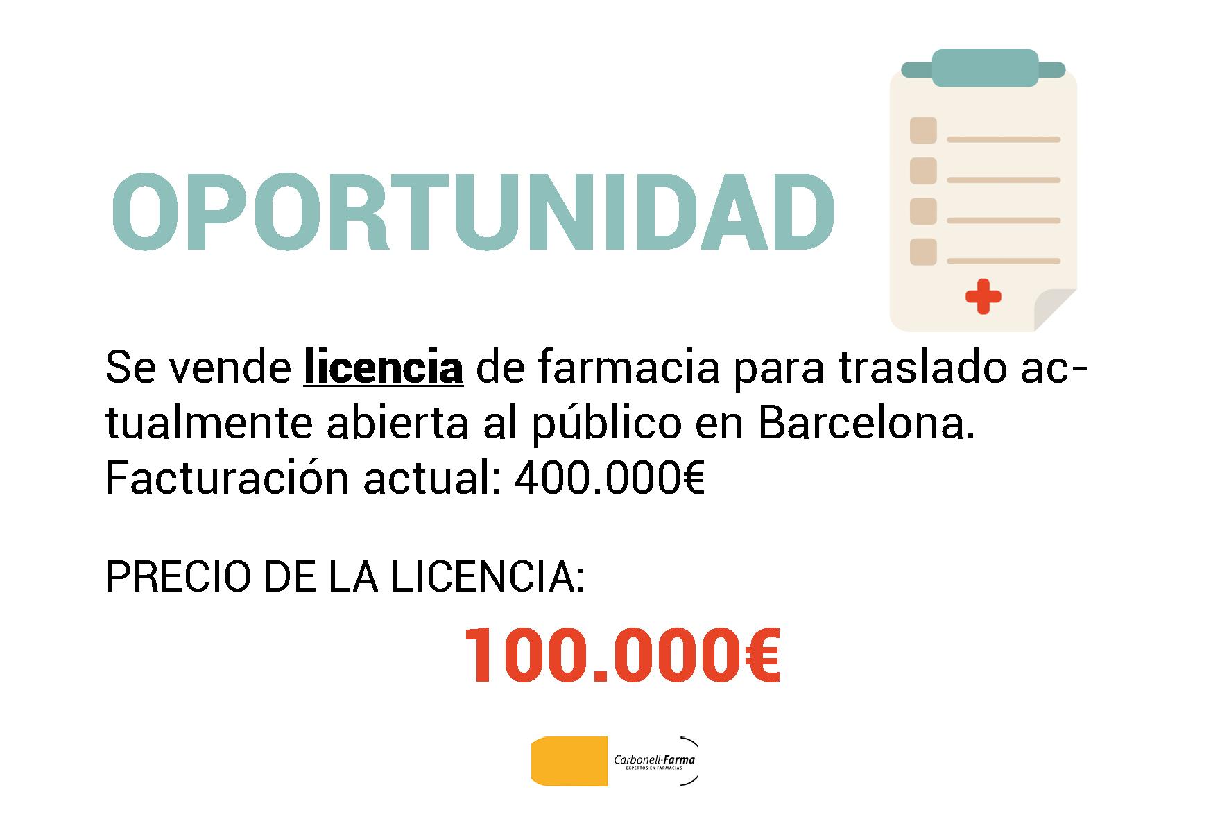 LICENCIA FARMACIA BARCELONA 100.000€